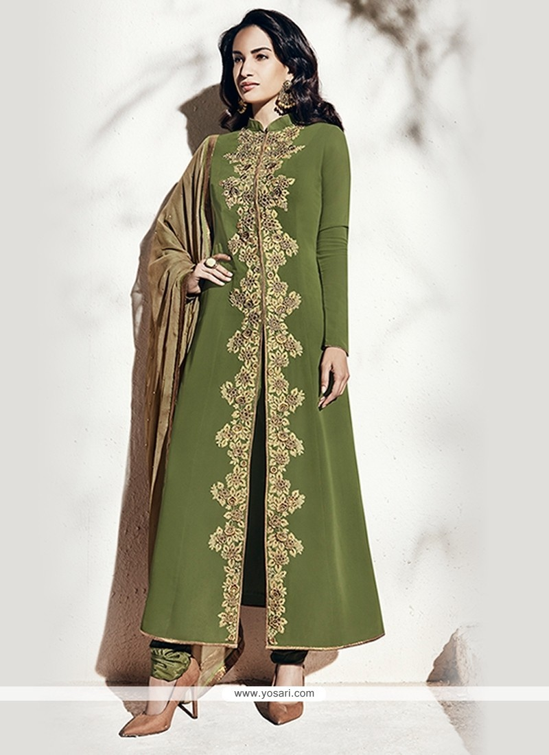 Engrossing Green Georgette Designer Suit
