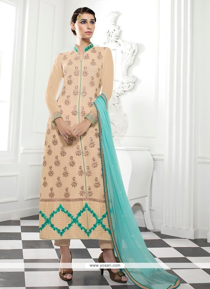 Stunning Georgette Patch Border Work Designer Straight Salwar Kameez