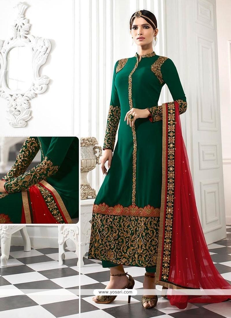 Classical Patch Border Work Georgette Designer Straight Salwar Kameez