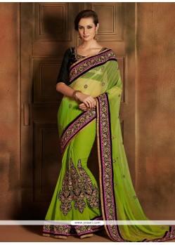 Lustrous Green Georgette Designer Saree