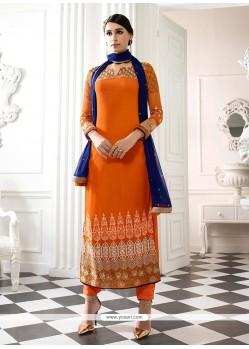 Attractive Orange Patch Border Work Georgette Designer Straight Salwar Kameez