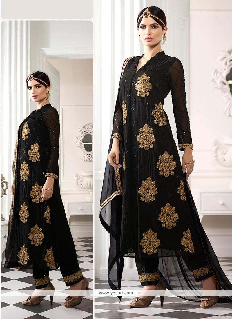 Sophisticated Georgette Designer Straight Salwar Kameez