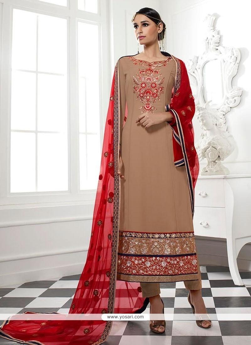 Fine Embroidered Work Georgette Designer Straight Salwar Kameez