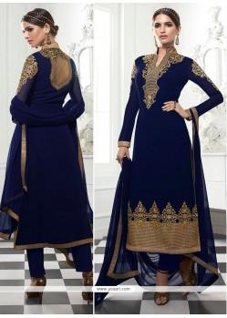 Adorning Embroidered Work Navy Blue Designer Straight Salwar Kameez