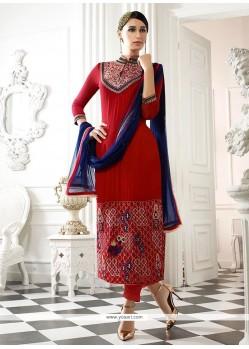 Appealing Embroidered Work Designer Straight Salwar Kameez