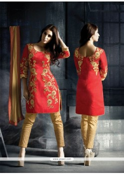 Prominent Fancy Fabric Red Designer Suit