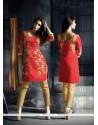 Prominent Fancy Fabric Red Designer Suit