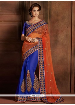 Imperial Orange And Blue Stone Satin Designer Saree