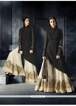 Prominent Black Embroidered Work Designer Suit