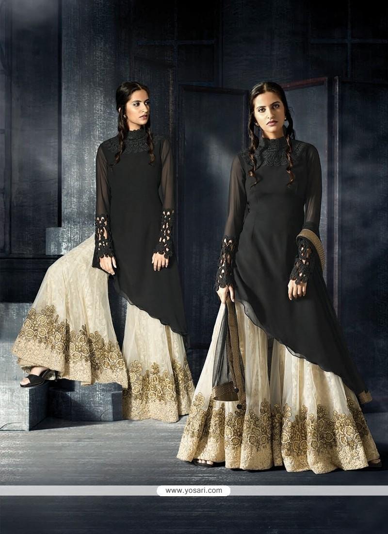 Prominent Black Embroidered Work Designer Suit