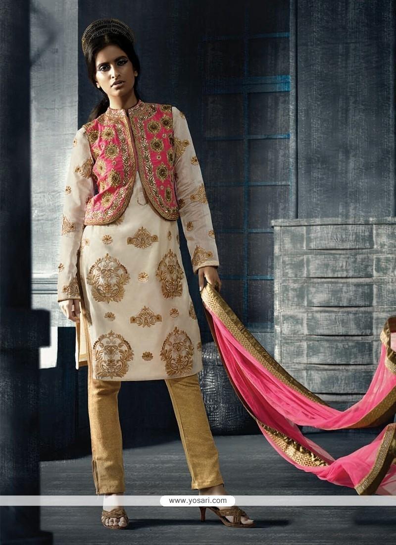 Surpassing Embroidered Work Multi Colour Designer Suit