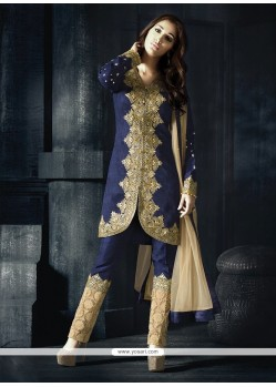 Praiseworthy Fancy Fabric Navy Blue Resham Work Designer Suit