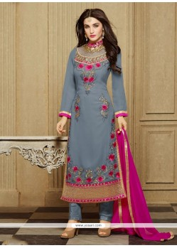Honourable Embroidered Work Grey Faux Georgette Designer Straight Salwar Kameez