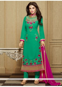 Exuberant Green Embroidered Work Designer Straight Salwar Kameez