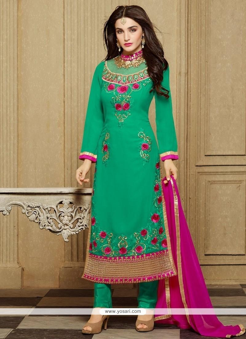 Exuberant Green Embroidered Work Designer Straight Salwar Kameez