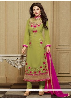 Sunshine Faux Georgette Sea Green Designer Straight Salwar Kameez