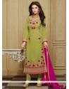 Sunshine Faux Georgette Sea Green Designer Straight Salwar Kameez