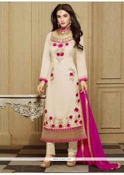 Tiptop Faux Georgette Off White Designer Straight Salwar Kameez