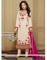 Tiptop Faux Georgette Off White Designer Straight Salwar Kameez