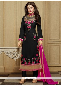 Royal Black Patch Border Work Faux Georgette Designer Straight Salwar Kameez