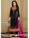 Royal Black Patch Border Work Faux Georgette Designer Straight Salwar Kameez