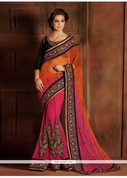 Magical Orange And Pink Embroidery Designer Saree