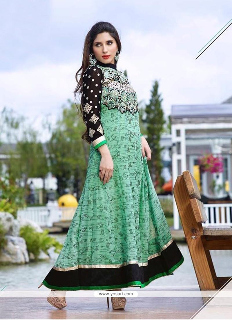 Delightsome Sea Green Georgette Anarkali Salwar Kameez