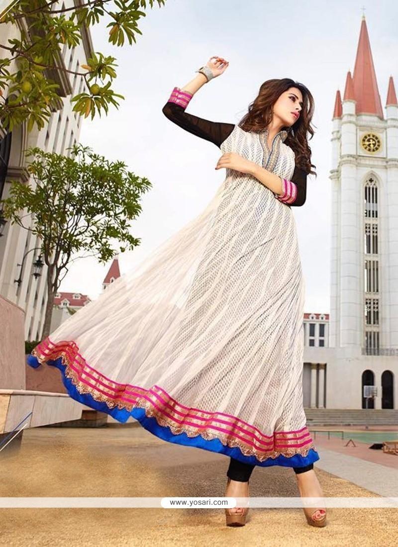 Girlish Georgette Off White Anarkali Salwar Kameez