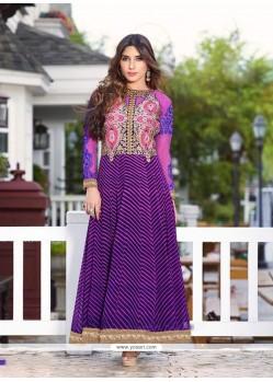 Stylish Embroidered Work Purple Anarkali Salwar Kameez