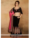 Gorgeous Black And Pink Resham Net Designer Saree