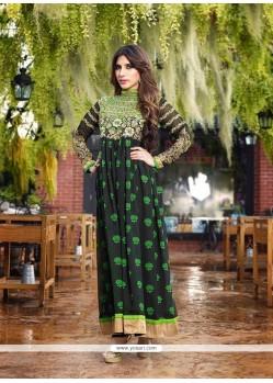Delightful Patch Border Work Green Georgette Anarkali Salwar Kameez