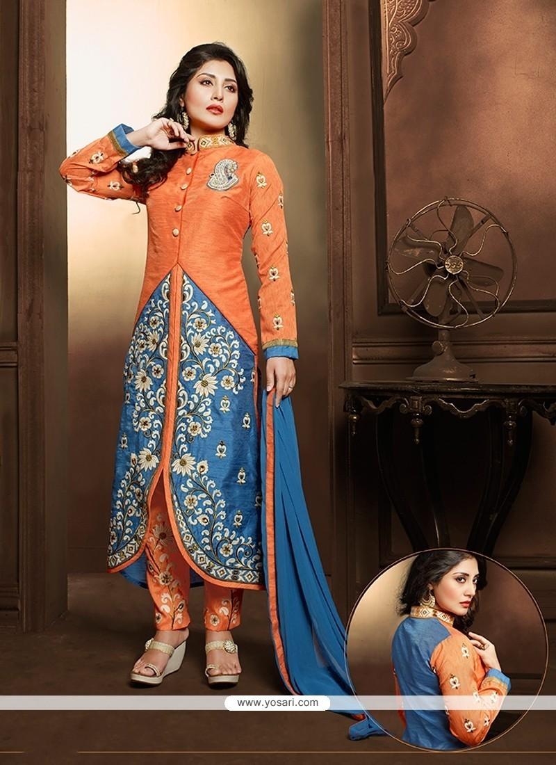 Modernistic Resham Work Orange Designer Suit