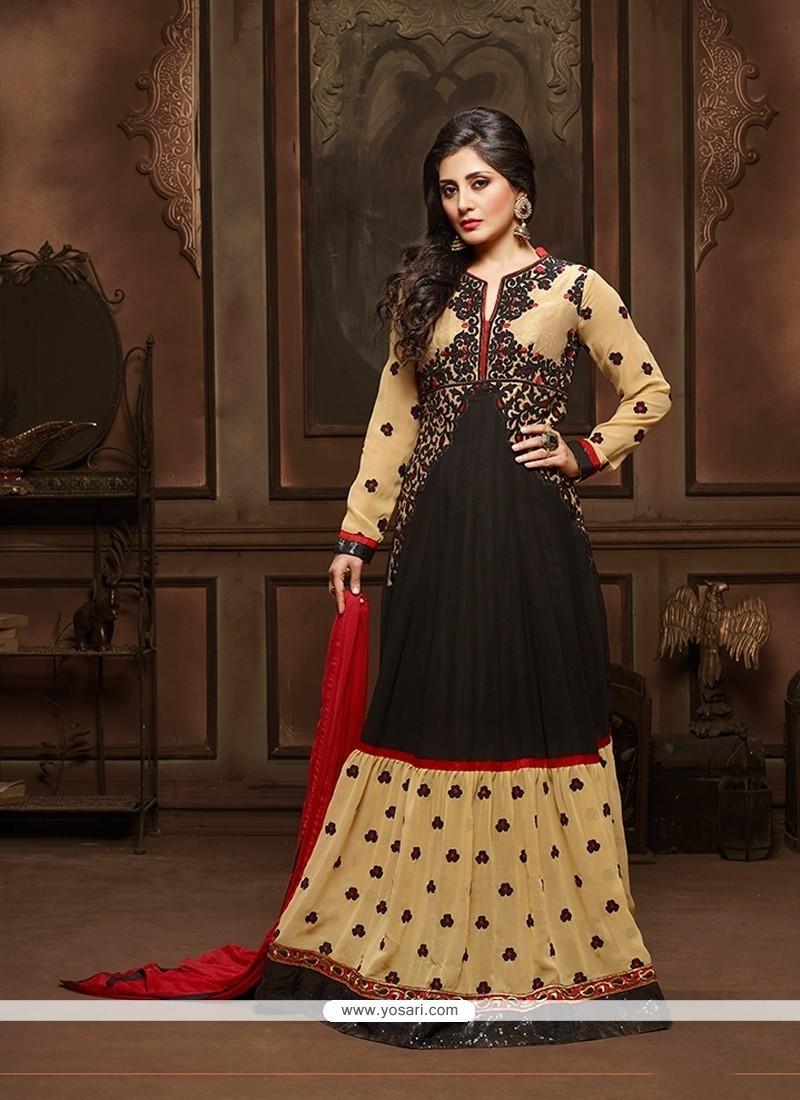 Affectionate Black Georgette Designer Suit