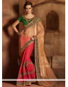 Girlish Green And Pink Net Satin Designer Saree