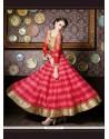 Eye-catchy Patch Border Work Silk Red Anarkali Salwar Kameez