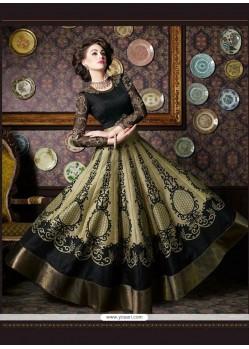 Aesthetic Silk Print Work Anarkali Salwar Kameez