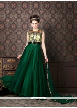 Exquisite Zari Work Green Anarkali Salwar Kameez