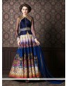 Thrilling Fancy Fabric Navy Blue Patch Border Work Anarkali Salwar Kameez
