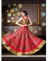Epitome Red Embroidered Work Silk Anarkali Salwar Kameez