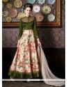 Snazzy Green Patch Border Work Silk Anarkali Salwar Kameez