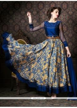 Adorable Fancy Fabric Navy Blue Patch Border Work Anarkali Salwar Kameez