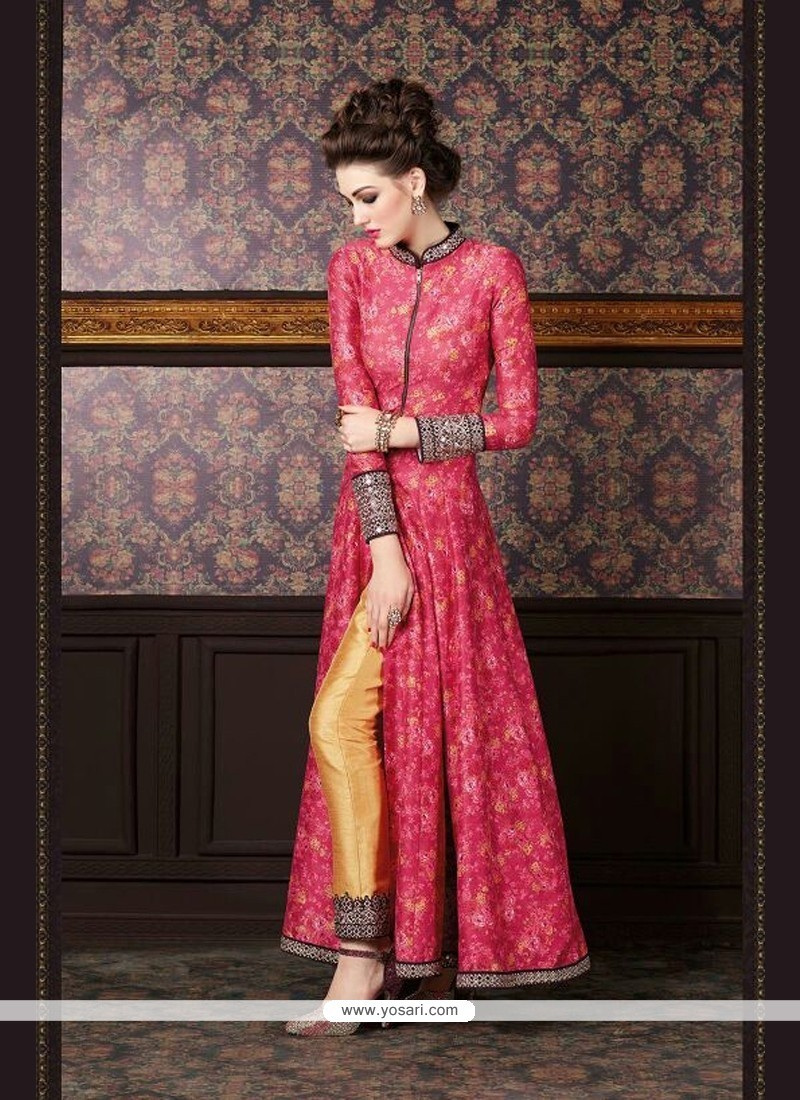 Chic Embroidered Work Red And Yellow Silk Designer Suit