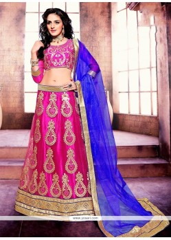 Vivacious Embroidered Work Hot Pink A Line Lehenga Choli
