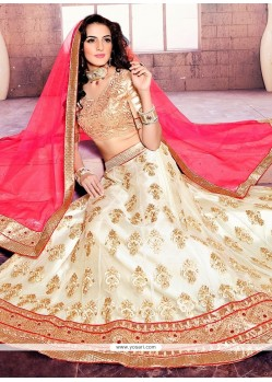 Stupendous Off White Patch Border Work Net A Line Lehenga Choli