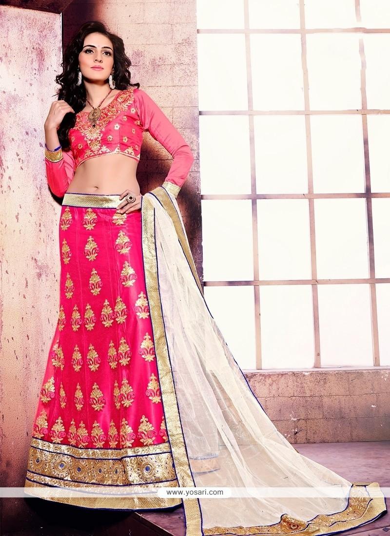 Mesmerizing Net Pink A Line Lehenga Choli