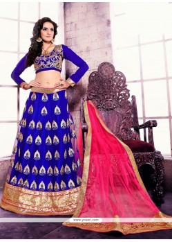Beauteous Satin Blue Patch Border Work A Line Lehenga Choli