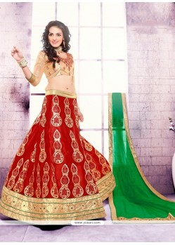 Royal Red Patch Border Work Satin A Line Lehenga Choli