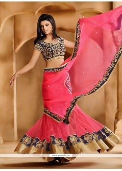Magnetic Pink Net Lehenga Saree