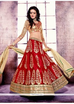 Fetching Satin Red A Line Lehenga Choli
