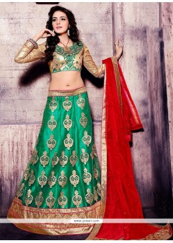Ideal Net Embroidered Work A Line Lehenga Choli